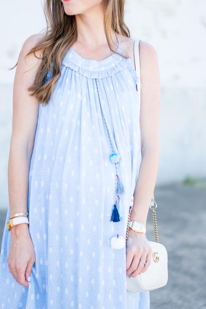 blue maxi dress with tassels