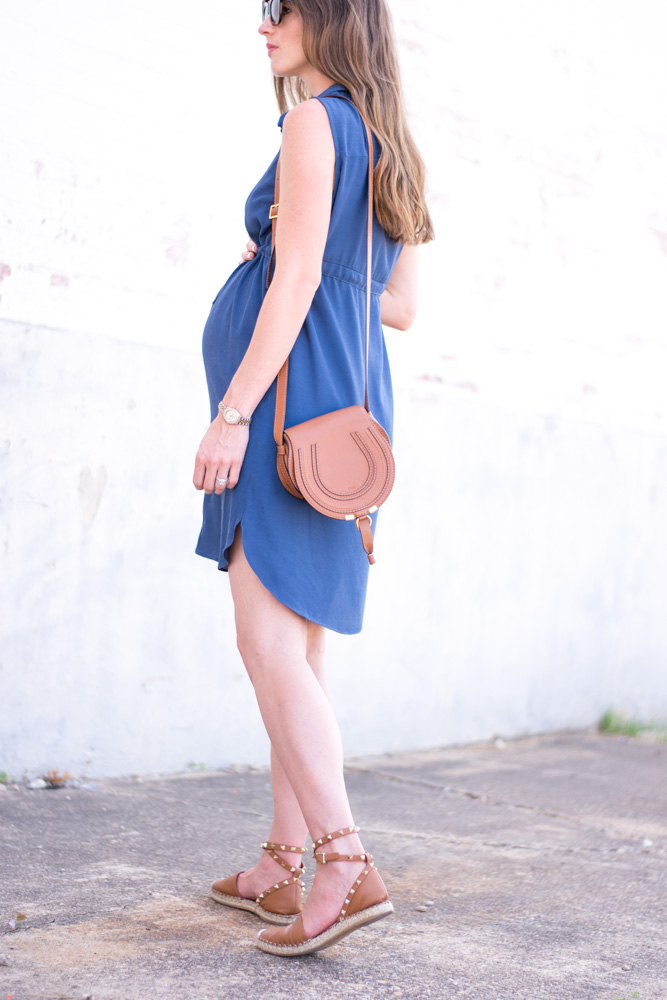 maternity favorites blue shirtdress with brown shoulder bag