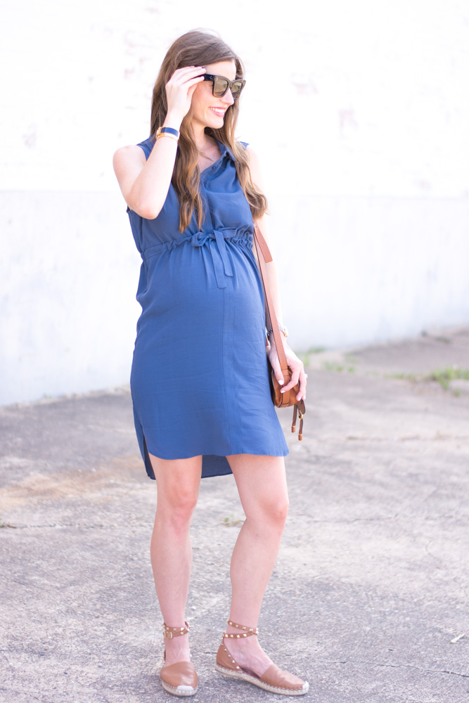 maternity style bleu shirt dress
