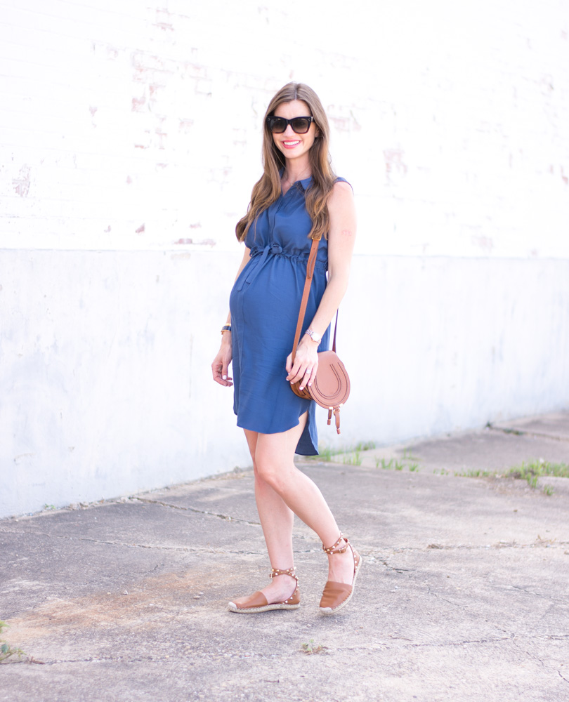 maternity blue shirtdress