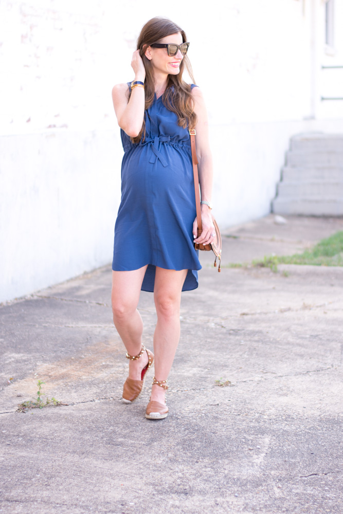 maternity favorites blue shirtdress with high low hem