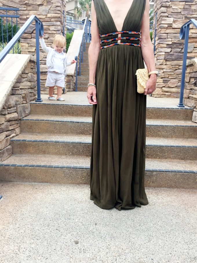 olive green maxi dress straw clutch