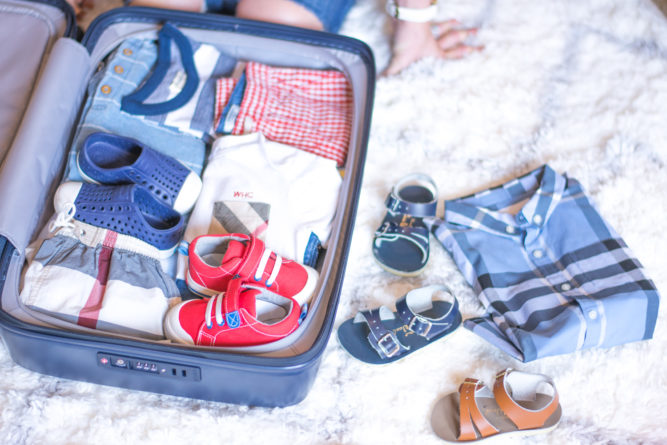 suitcase packed with toddler essentials