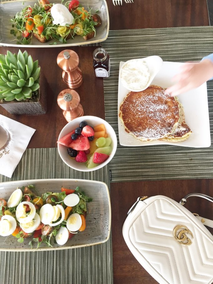 avocado taost and pancakes