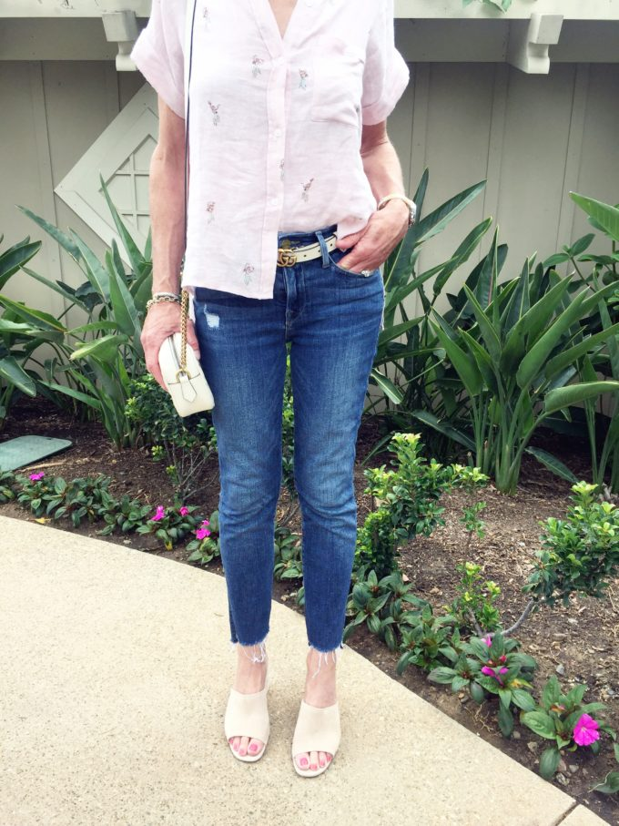 pink short sleeve top jeans tan suede mules