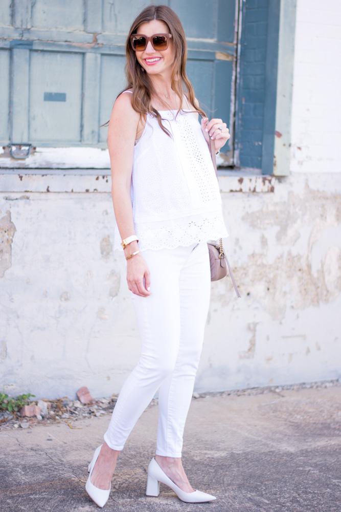 white eyelet top white jeans