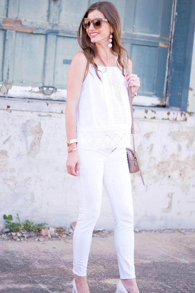 white eyelet top with white jeans