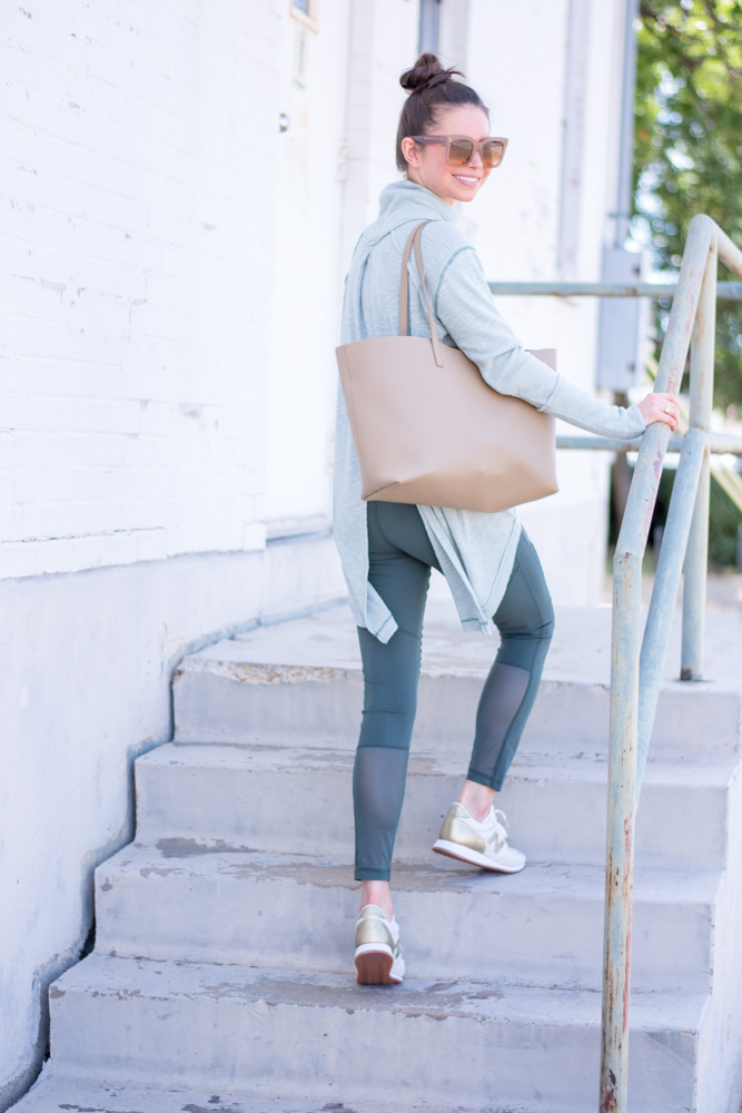 split back turtleneck green moto leggings