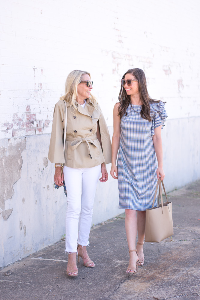 classics with a twist trenchcoat cape shift dress with ruffle sleeeve