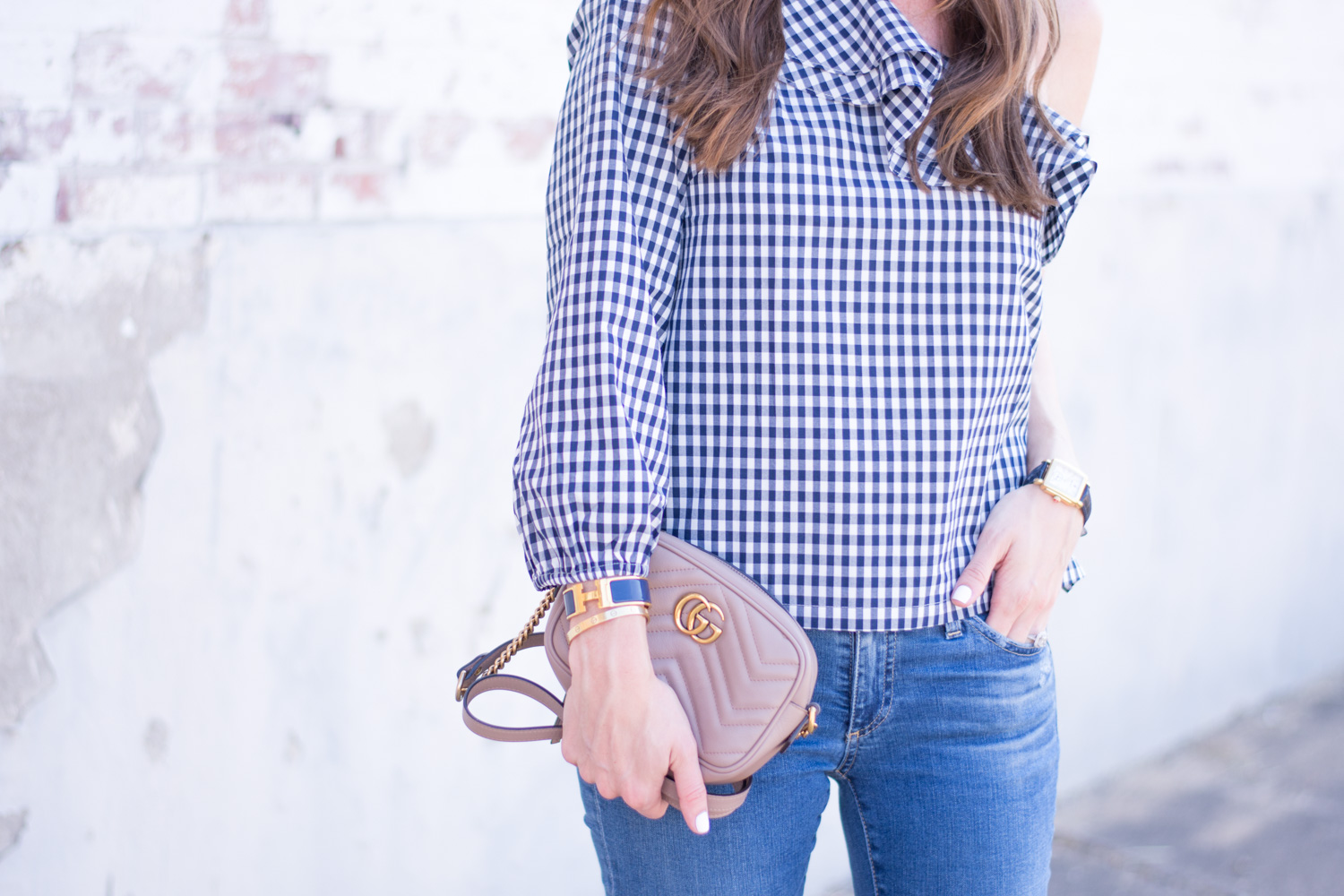 gingham top with ruffle nude handbag