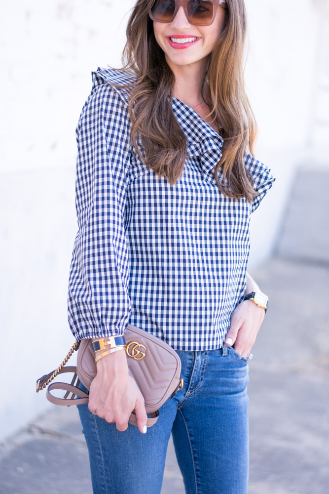 gingham top with one shoulder