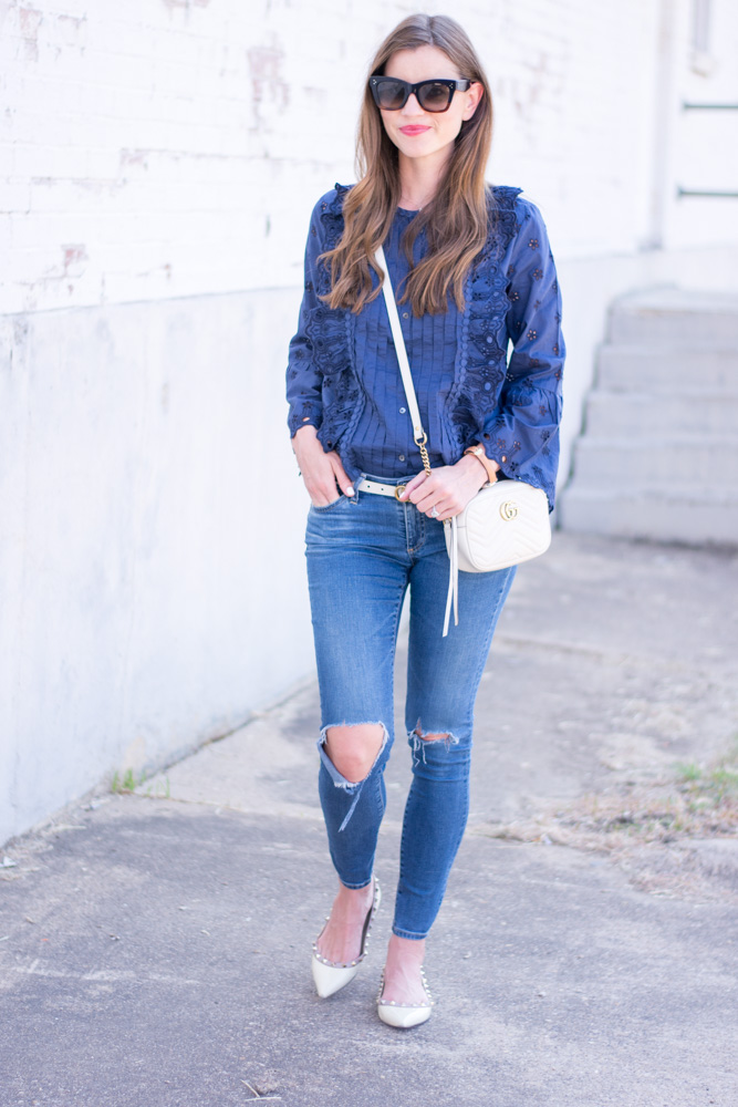 blue lace ruffle front top