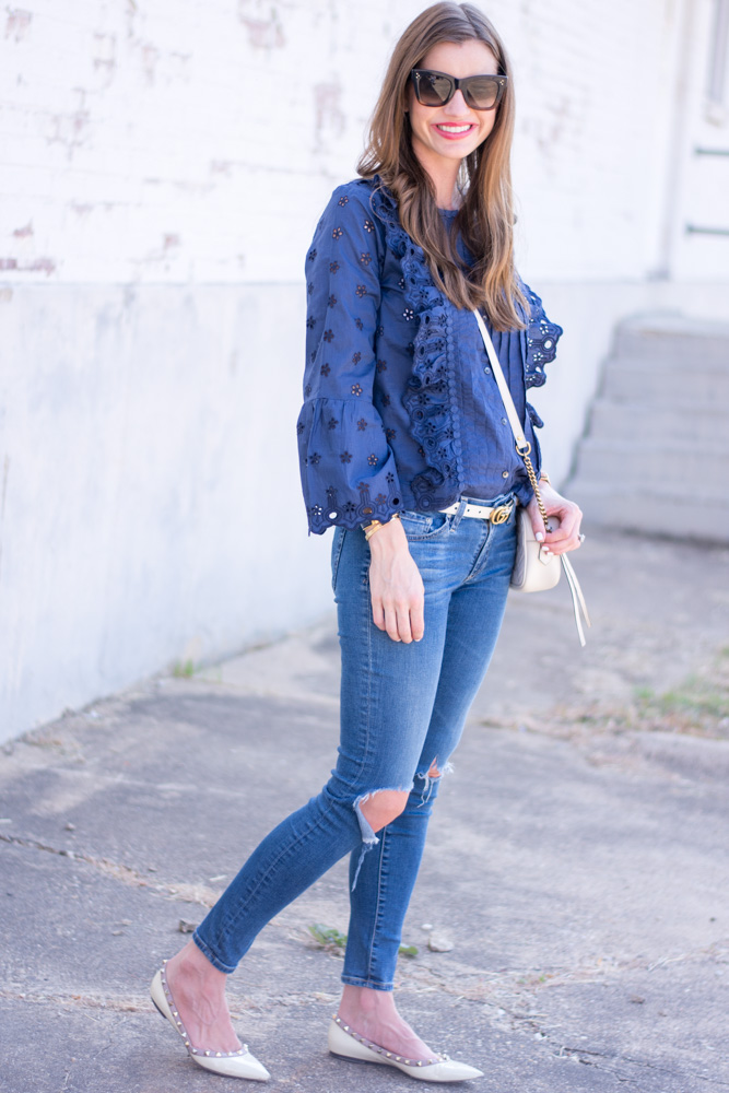 top ten tops for nursing navy floral lace top