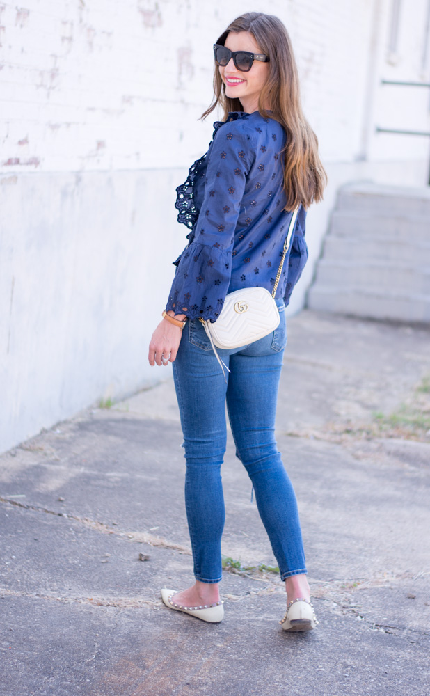 navy eyelet lace top with white gucci crossbody bag