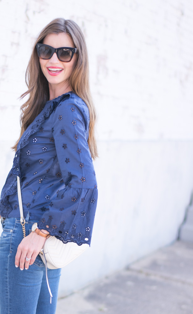 navy bell sleeve lace top