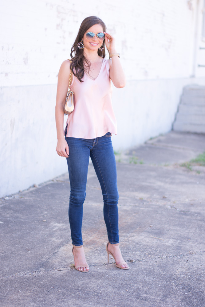 weeknight date night look blush pink silk top