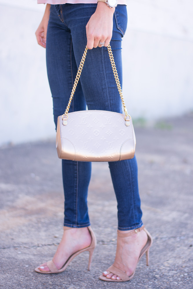 weeknight date night gold clutch nude heels