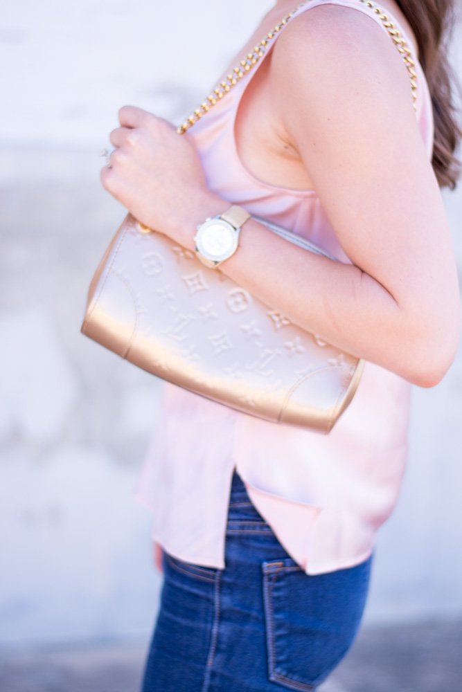 weeknight date night gold clutch
