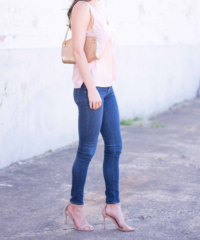 weeknight date night blush pink silk top gold clutch nude heels and jeans