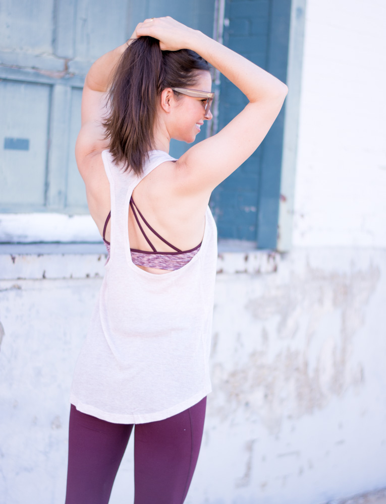 burgundy sports bra blush pink tank burgunday leggings
