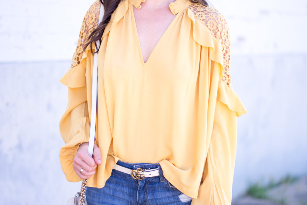 vee neck long sleeve yellow top with ruffles and lace
