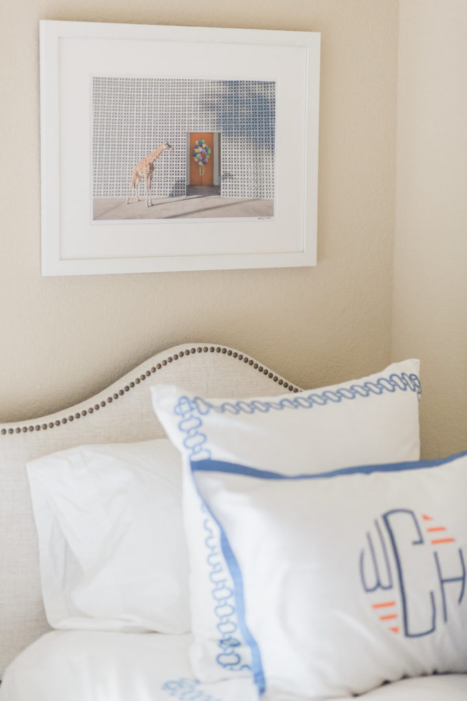 monogrammed pillowcase and Gray Malin print