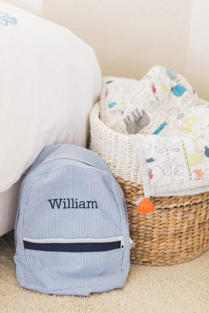nursery details monogrammed bacpack toy basket