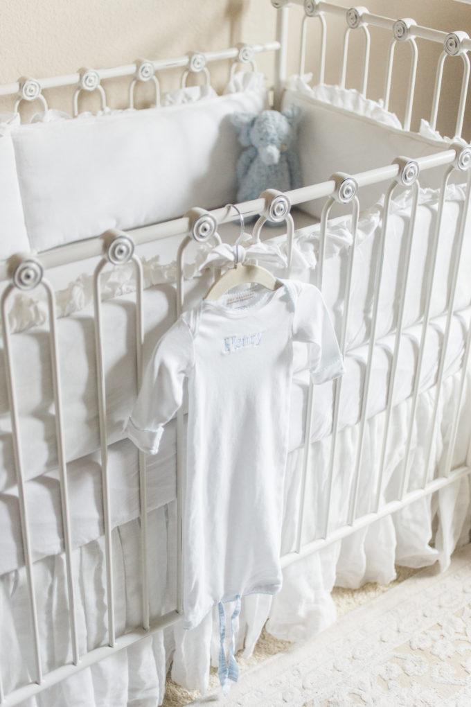 nursery details baby gown crib