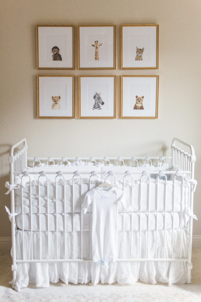 nursery details crib and animal prints