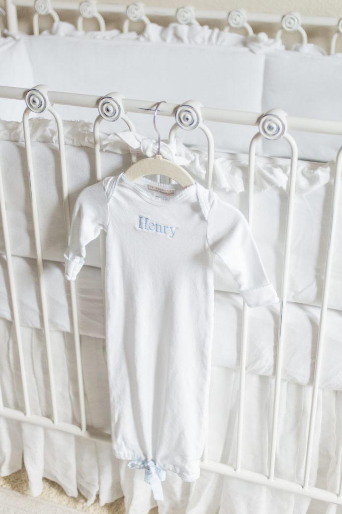 nursery details monogrammed gown