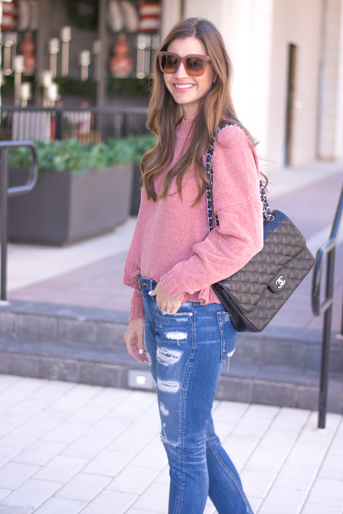 pink chenille sweater chanel handbag