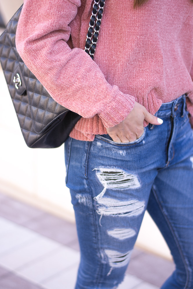 pink chenille sweater distressed jeans chanel handbag