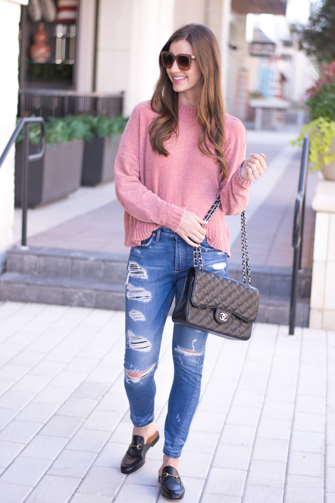 chenille sweater distressed jeans black handbag