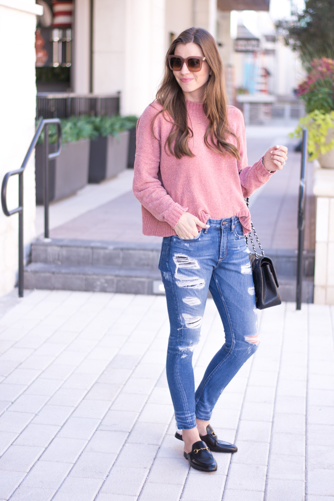 chenille sweater distressed jeans