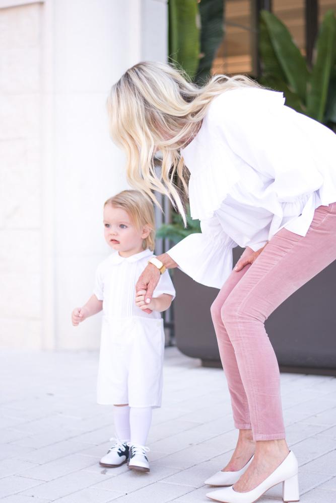 pink velvet jeans white ruffle top for baby dedication