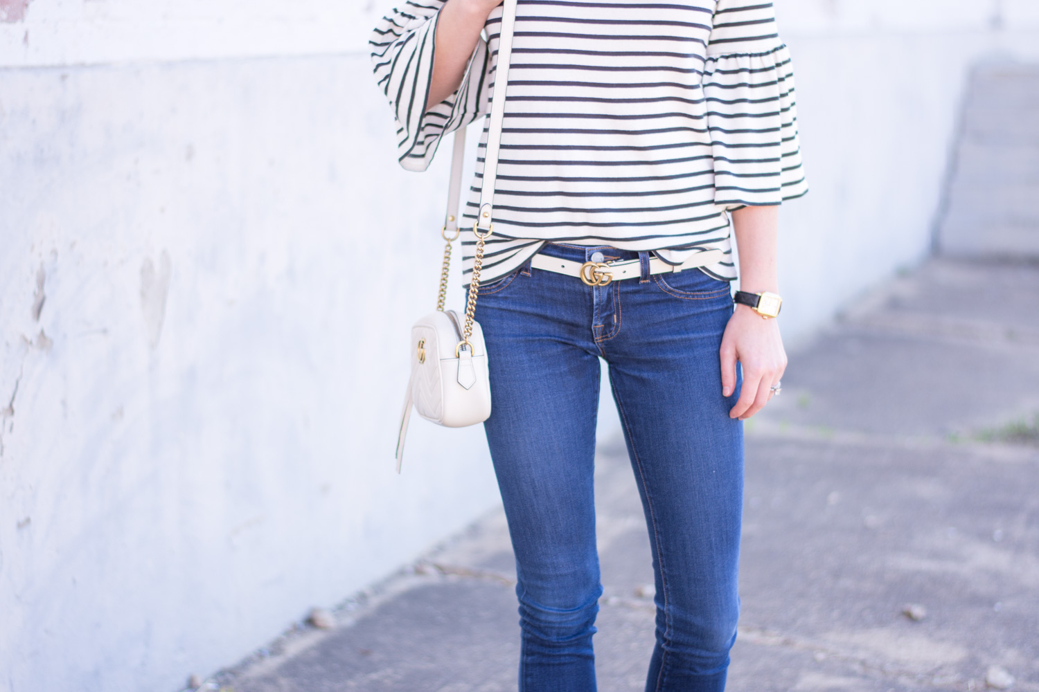 striped bell sleeve top gucci marmont belt