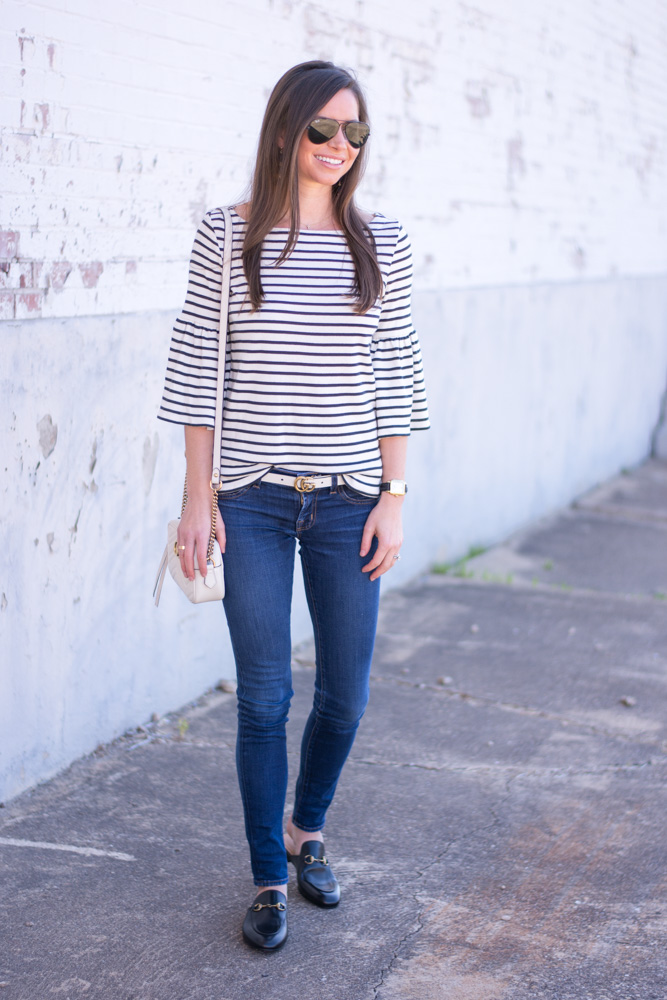 striped bell sleeve top white belt black loafers
