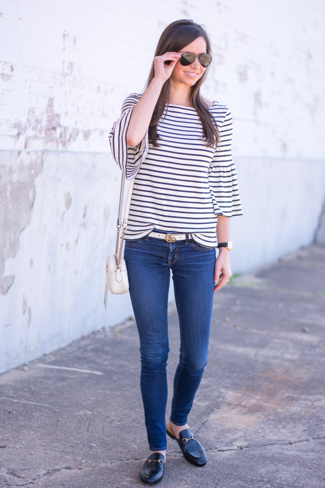 striped bell sleeve top white belt blackmules