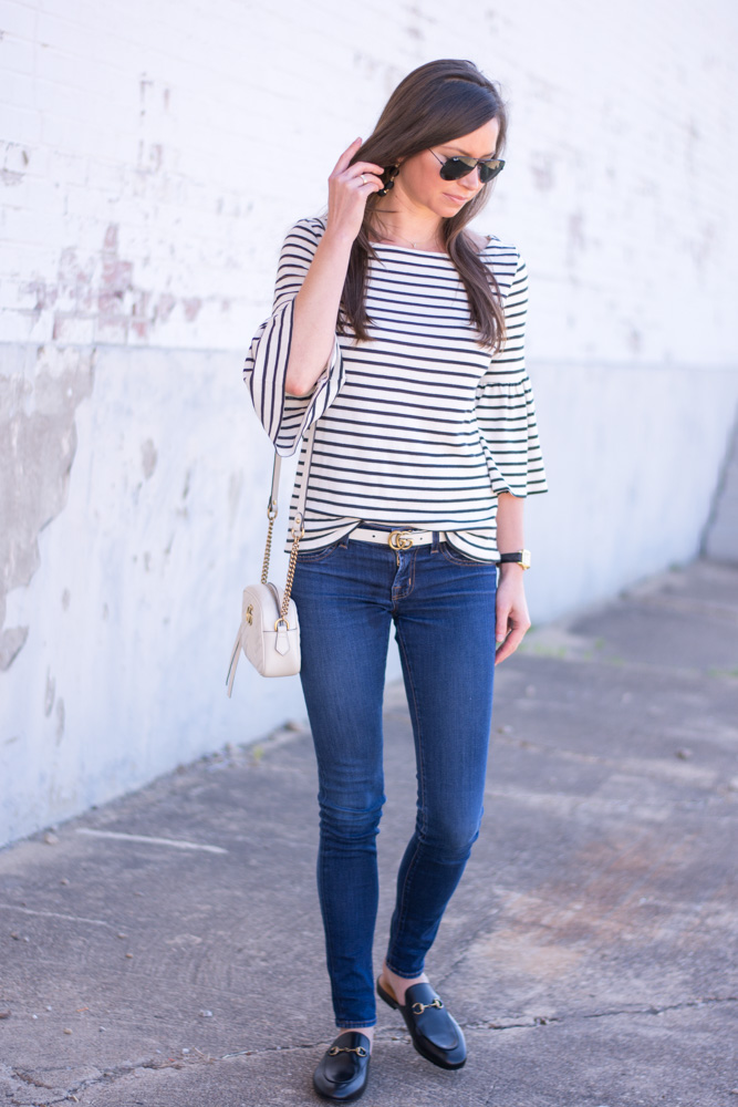 striped bel sleeve top white handbag black loafers
