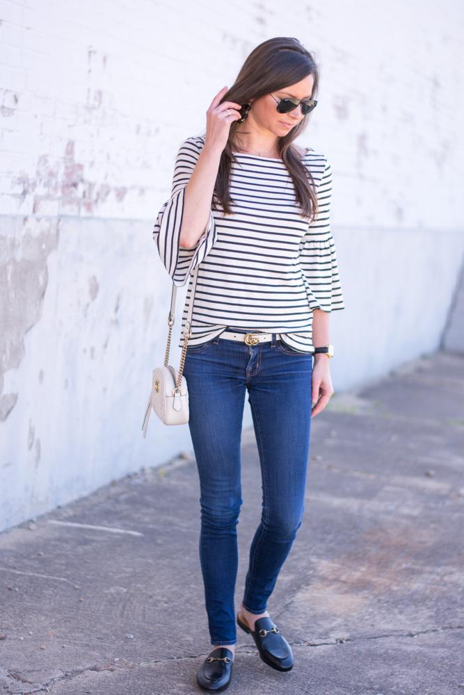 striped bel sleeve top white handbag black loafers