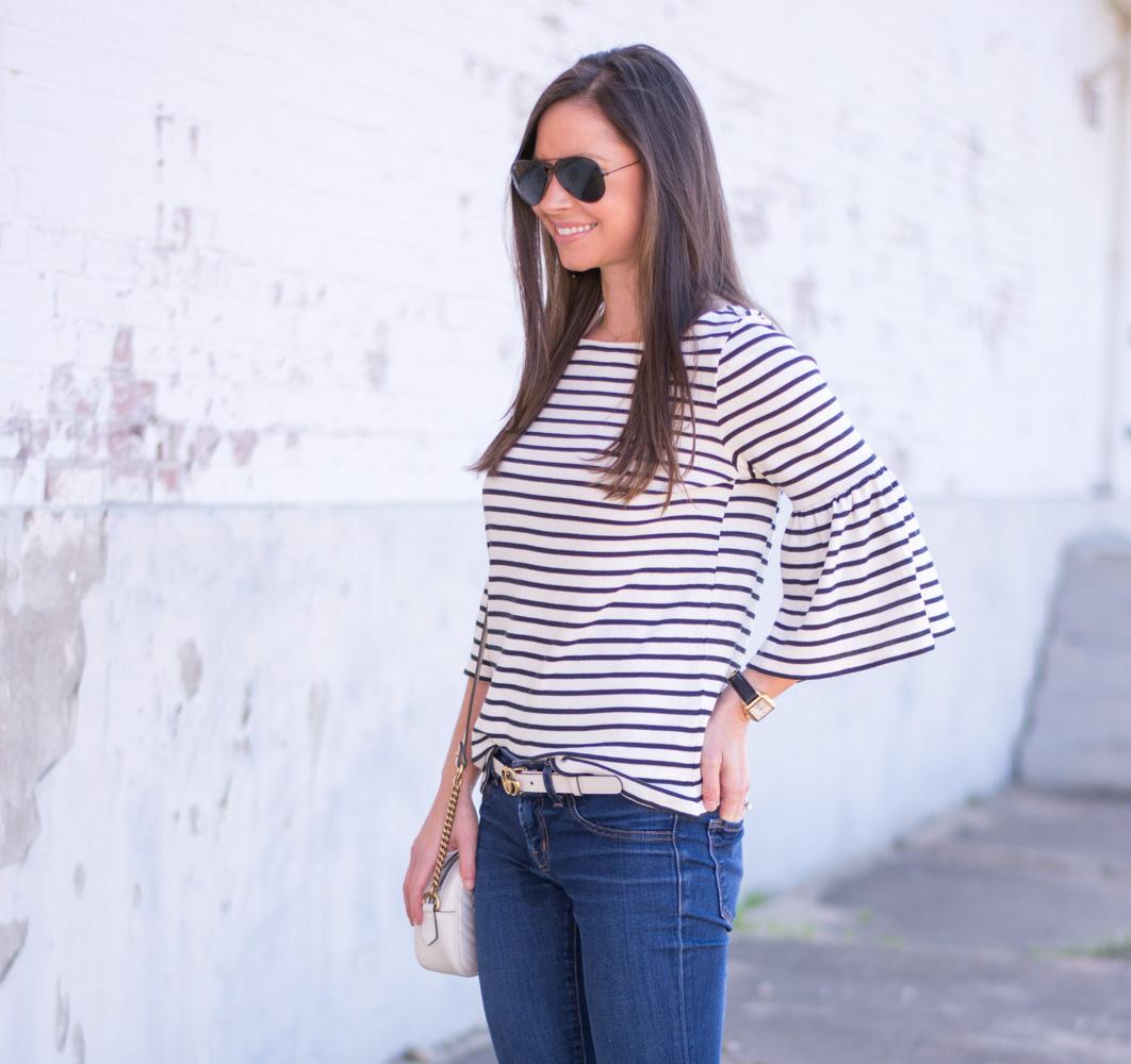 striped bel sleeve top