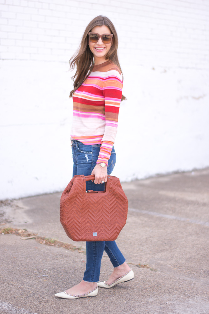 striped sweater brown handbag