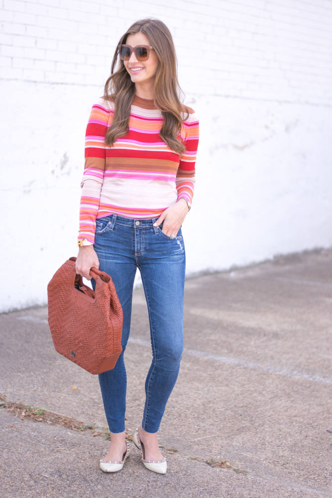 striped sweater jeans brown handbag
