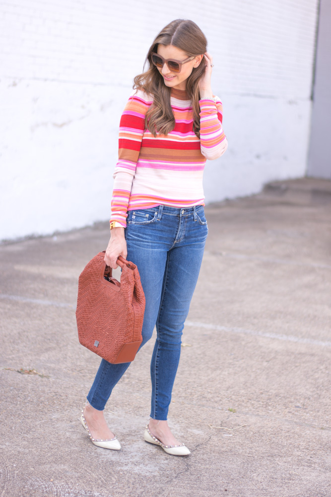 striped sweater jeans rockstud flats