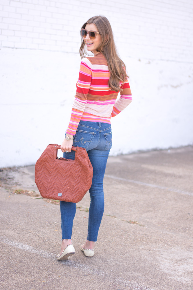 oversized brown handbag striped sweater