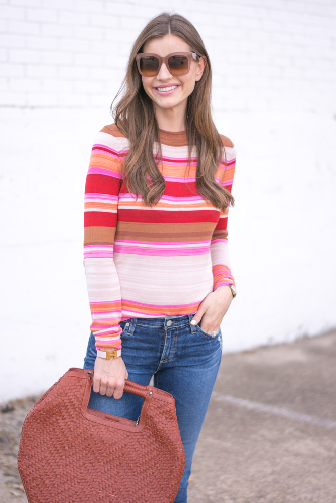 striped sweater oversized brown handbag