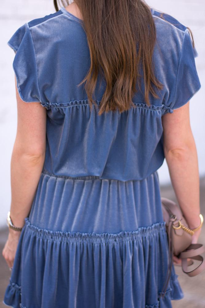 blue velvet dress back detail