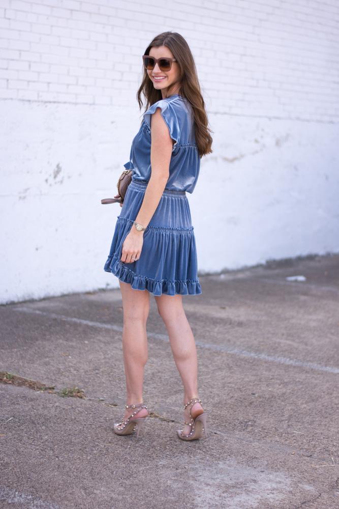 blue velvet dress back view