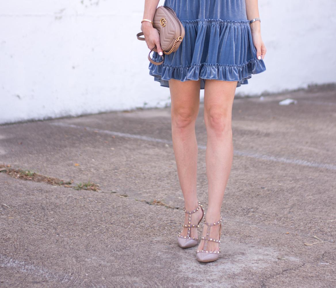 blue velvet dress details rockstud pumps