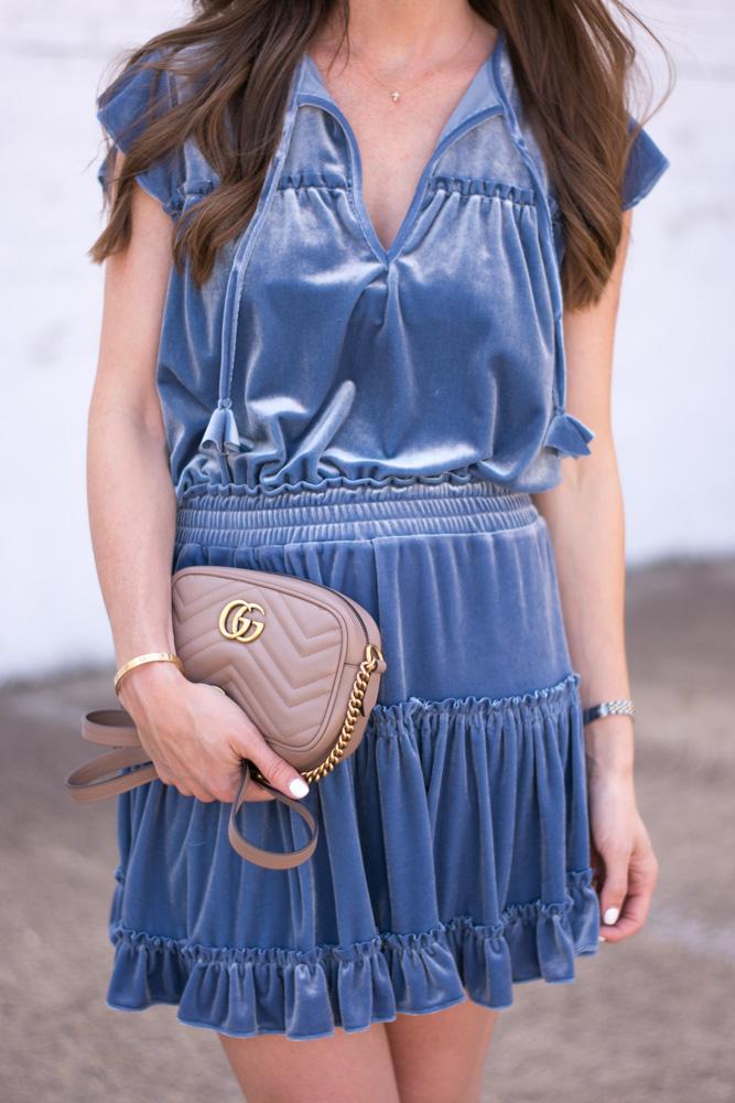 blue velvet dress gucci camera bag